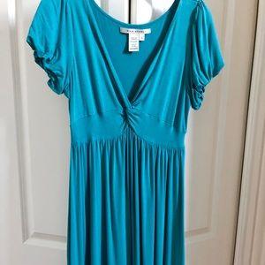 Aqua Blue V neck Babydoll Dress Max Studio Size L